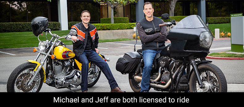 Michael and Jeff on bikes, with tagline